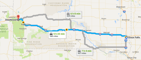 siouxfalls to deadwood